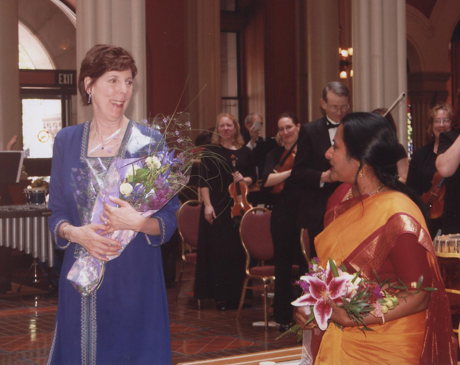 Jan Gilbert (left) and Nirmala Rajesakar, veena soloist, at the premiere of the Suite for Veena and Orchestra with the St. Paul Civic Symphony
